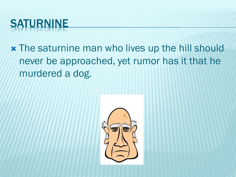  The saturnine man who lives up the hill should never be approached, yet rumor has it that he murdered a dog.