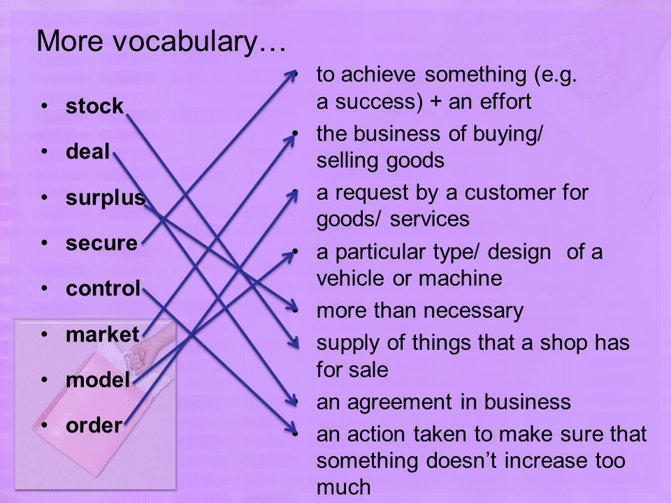 More vocabulary… stock deal surplus secure control market model order to achieve something (e.g.