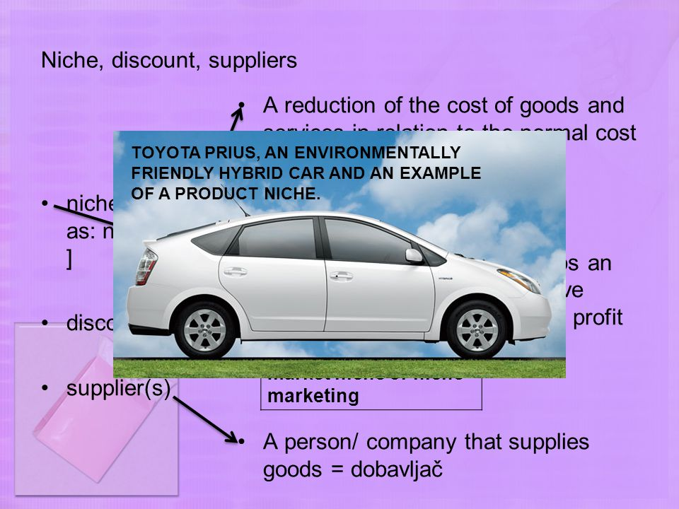 Niche, discount, suppliers niche [read as: ni ːʃ or n ɪ t ʃ ] discount supplier(s) A reduction of the cost of goods and services in relation to the normal cost A market for a product, perhaps an unusual one, that does not have many buyers, but makes good profit for companies who sell it A person/ company that supplies goods = dobavljač Reebok is trying to increase market share by selling its shoes at discount prices.