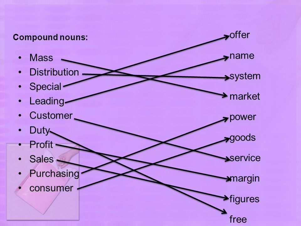 Compound nouns: Mass Distribution Special Leading Customer Duty Profit Sales Purchasing consumer offer name system market power goods service margin f