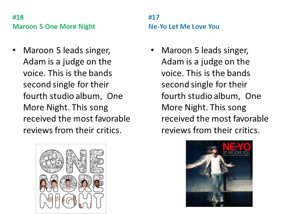 #18 Maroon 5 One More Night Maroon 5 leads singer, Adam is a judge on the voice.