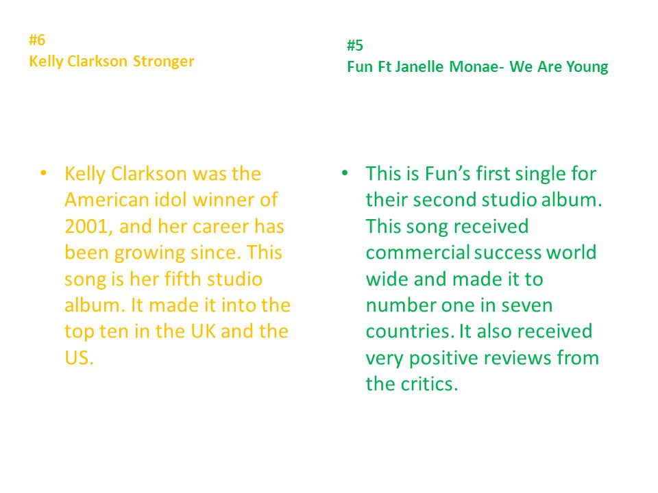 #6 Kelly Clarkson Stronger Kelly Clarkson was the American idol winner of 2001, and her career has been growing since.