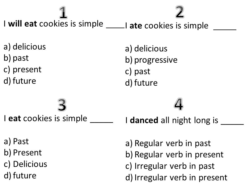 I will eat cookies is simple ____ a)delicious b)past c)present d)future I ate cookies is simple _____ a)delicious b)progressive c)past d)future I eat