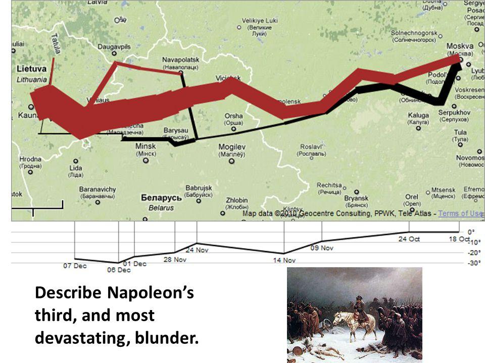Describe Napoleon's third, and most devastating, blunder.