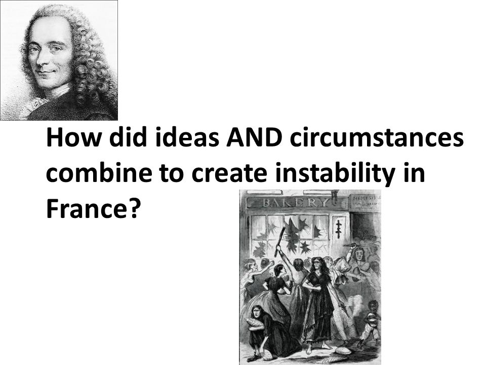 How did ideas AND circumstances combine to create instability in France?