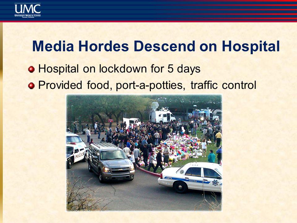 Media Hordes Descend on Hospital Hospital on lockdown for 5 days Provided food, port-a-potties, traffic control