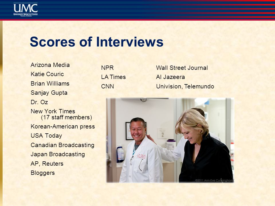 Scores of Interviews Arizona Media Katie Couric Brian Williams Sanjay Gupta Dr.