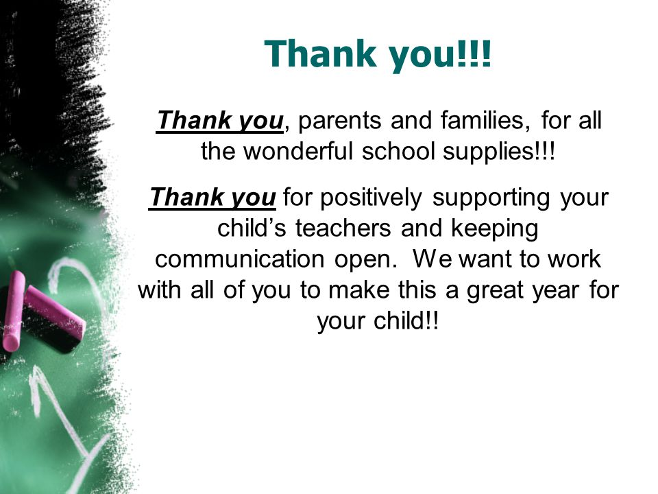 Thank you!!. Thank you, parents and families, for all the wonderful school supplies!!.