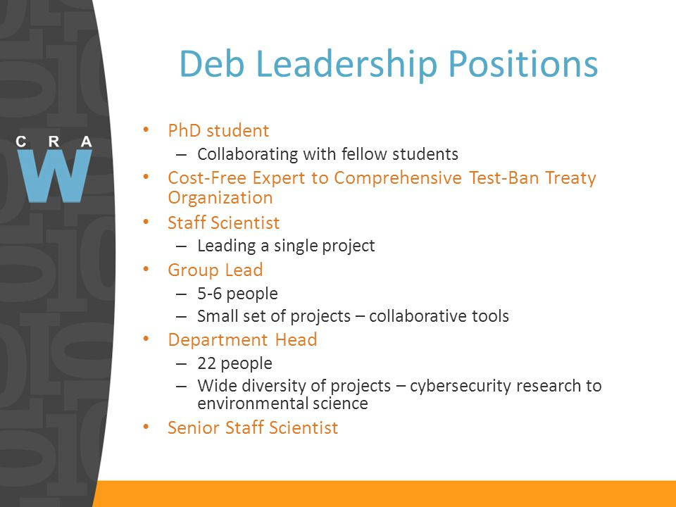 Deb Leadership Positions PhD student – Collaborating with fellow students Cost-Free Expert to Comprehensive Test-Ban Treaty Organization Staff Scientist – Leading a single project Group Lead – 5-6 people – Small set of projects – collaborative tools Department Head – 22 people – Wide diversity of projects – cybersecurity research to environmental science Senior Staff Scientist
