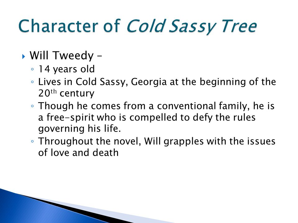  Will Tweedy – ◦ 14 years old ◦ Lives in Cold Sassy, Georgia at the beginning of the 20 th century ◦ Though he comes from a conventional family, he is a free-spirit who is compelled to defy the rules governing his life.
