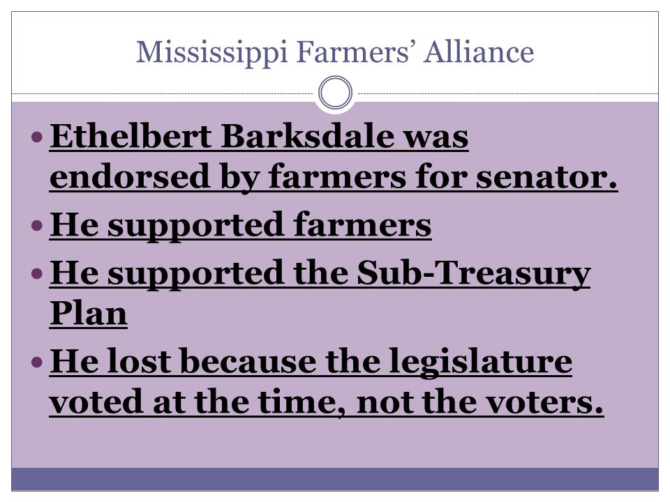 Ethelbert Barksdale was endorsed by farmers for senator.