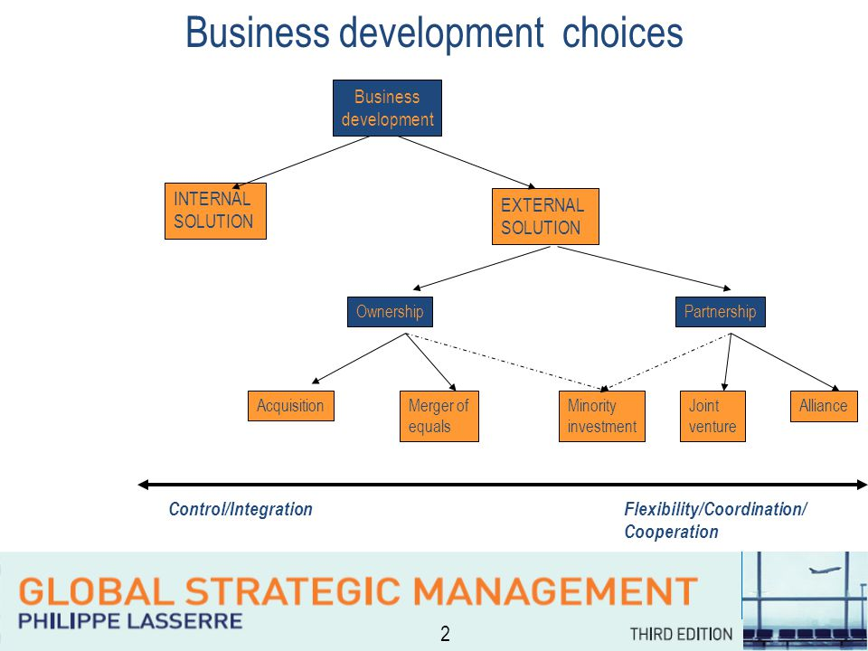 2 Business development choices INTERNAL SOLUTION EXTERNAL SOLUTION OwnershipPartnership AcquisitionMerger of equals Joint venture Alliance Minority investment Control/IntegrationFlexibility/Coordination/ Cooperation Business development