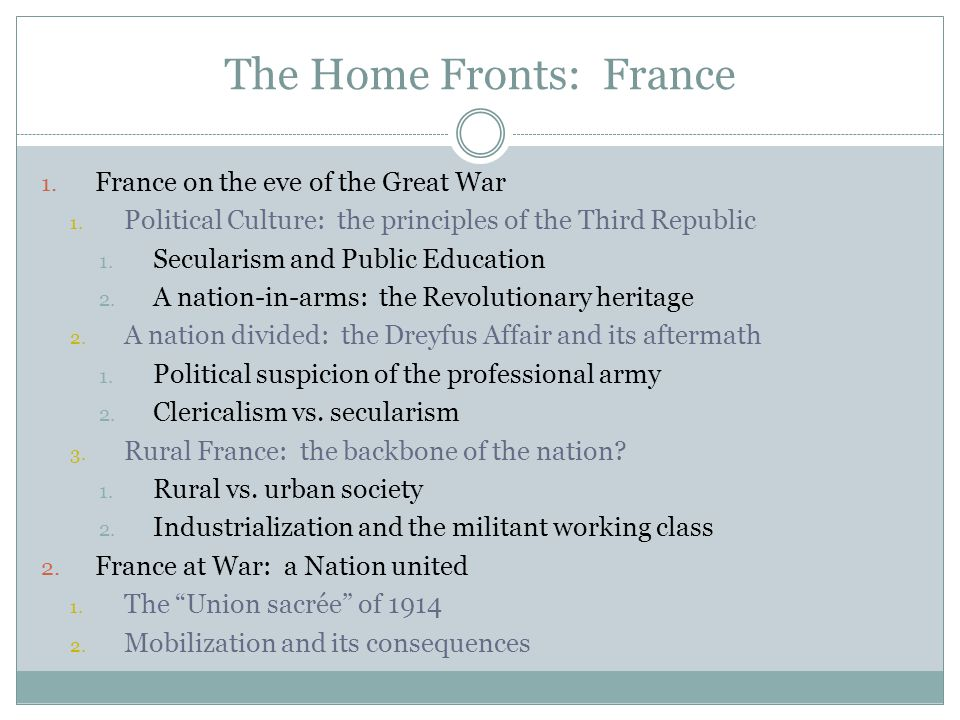 The Home Fronts: France 1. France on the eve of the Great War 1.