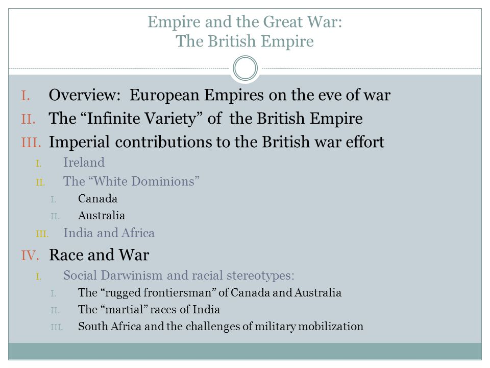 Empire and the Great War: The British Empire I. Overview: European Empires on the eve of war II.