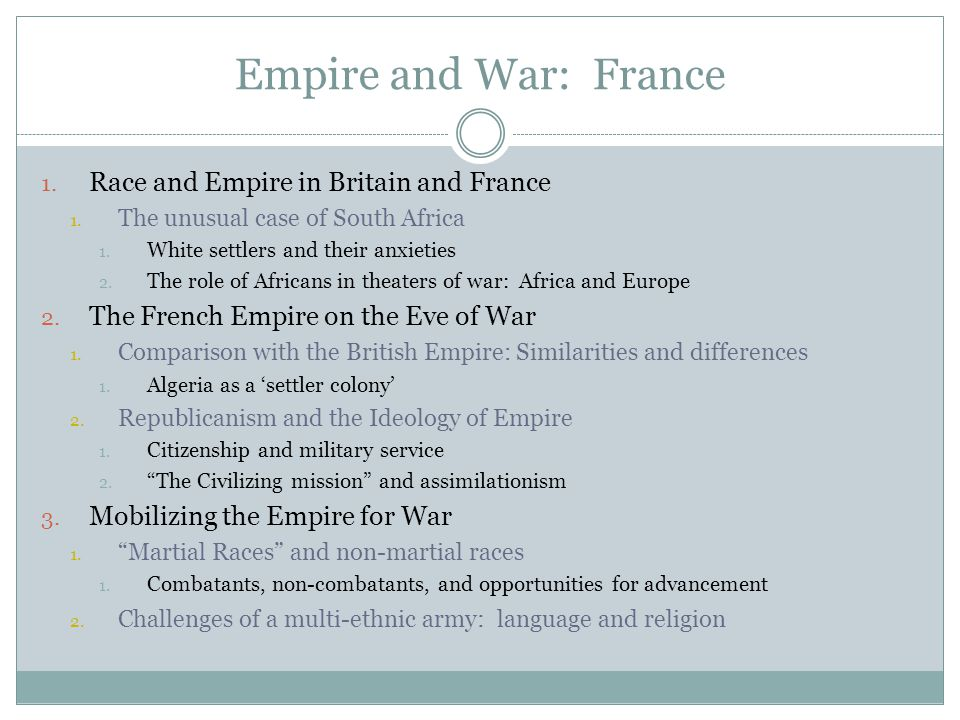Empire and War: France 1. Race and Empire in Britain and France 1.