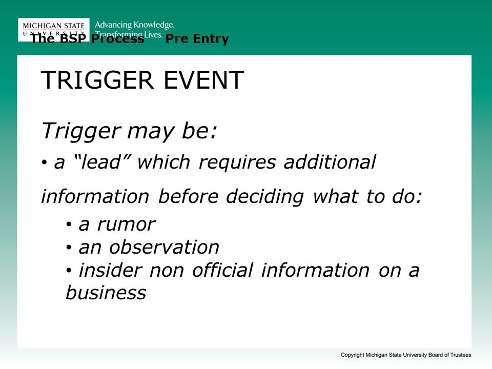 TRIGGER EVENT Trigger may be: a lead which requires additional information before deciding what to do: a rumor an observation insider non official information on a business The BSP Process Pre Entry