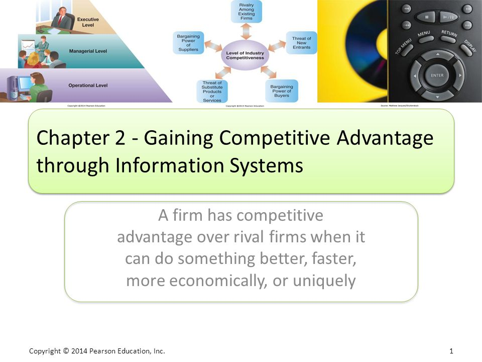 Copyright © 2014 Pearson Education, Inc. 1 A firm has competitive advantage over rival firms when it can do something better, faster, more economicall