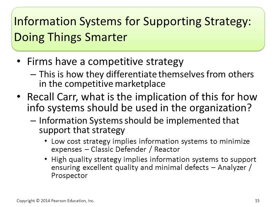 Copyright © 2014 Pearson Education, Inc. 15 Information Systems for Supporting Strategy: Doing Things Smarter Firms have a competitive strategy – This