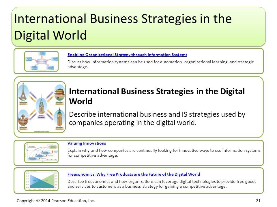 Copyright © 2014 Pearson Education, Inc. 21 International Business Strategies in the Digital World Enabling Organizational Strategy through Informatio
