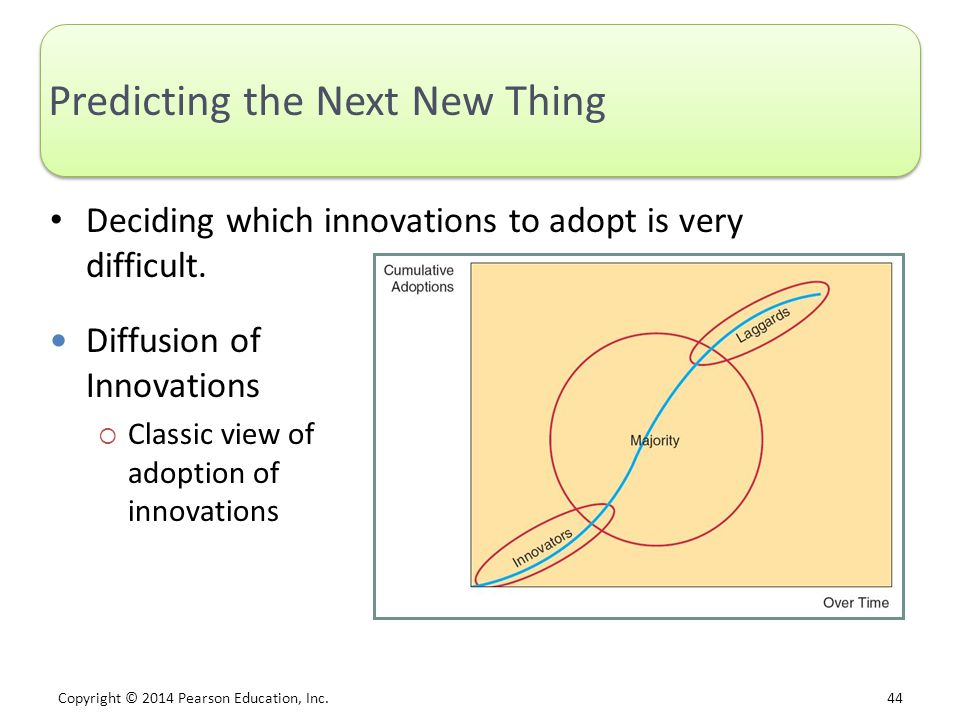 Copyright © 2014 Pearson Education, Inc. 44 Predicting the Next New Thing Deciding which innovations to adopt is very difficult. Diffusion of Innovati