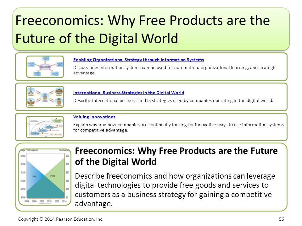 Copyright © 2014 Pearson Education, Inc. 56 Freeconomics: Why Free Products are the Future of the Digital World Enabling Organizational Strategy throu