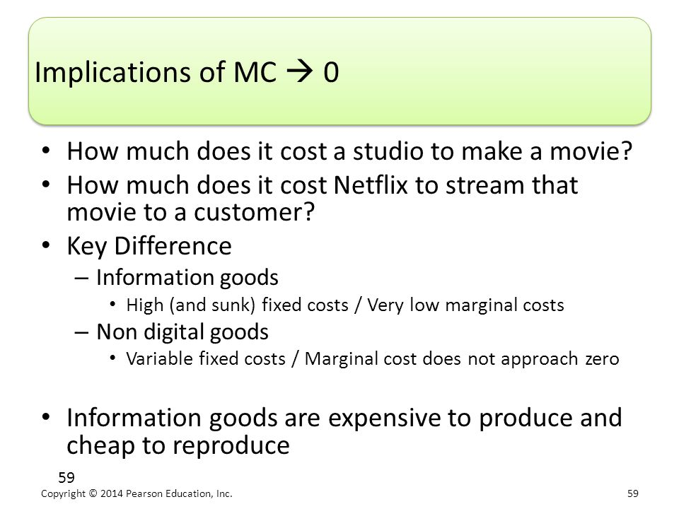 Copyright © 2014 Pearson Education, Inc. 59 59 Implications of MC  0 How much does it cost a studio to make a movie? How much does it cost Netflix to