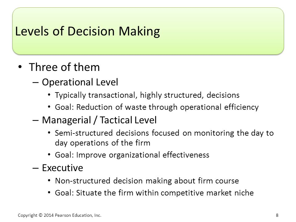 Copyright © 2014 Pearson Education, Inc. 9 Organizational Decision-Making Levels