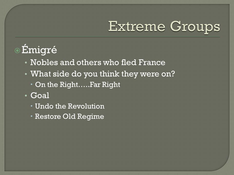  Émigré Nobles and others who fled France What side do you think they were on.