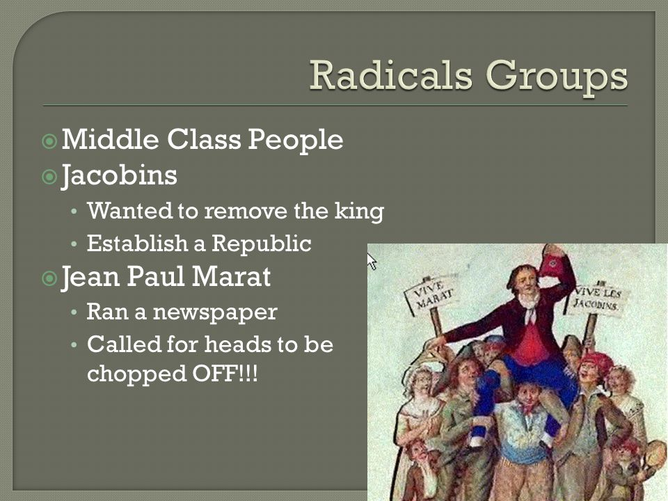  Middle Class People  Jacobins Wanted to remove the king Establish a Republic  Jean Paul Marat Ran a newspaper Called for heads to be chopped OFF!!!