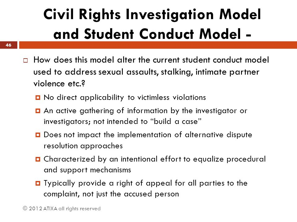Civil Rights Investigation Model and Student Conduct Model -  How does this model alter the current student conduct model used to address sexual assa