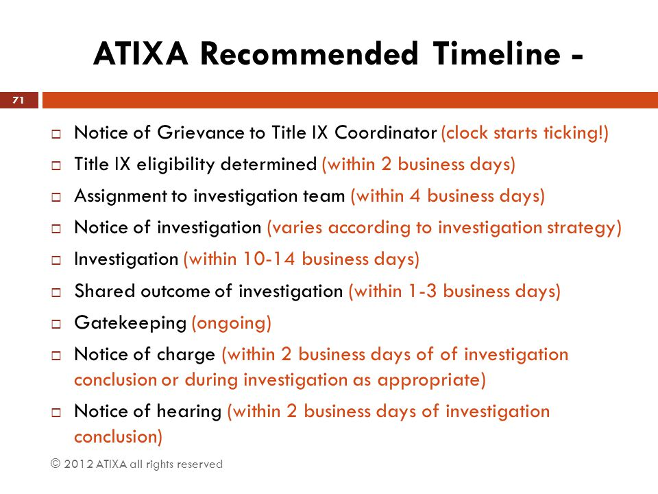 ATIXA Recommended Timeline -  Notice of Grievance to Title IX Coordinator (clock starts ticking!)  Title IX eligibility determined (within 2 busines