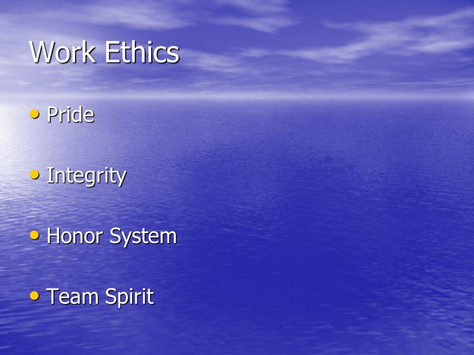 Work Ethics Pride Pride Integrity Integrity Honor System Honor System Team Spirit Team Spirit
