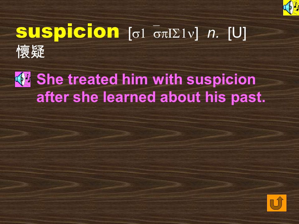 Words for Production 18.suspicious [ s1`spIS1s ] adj.