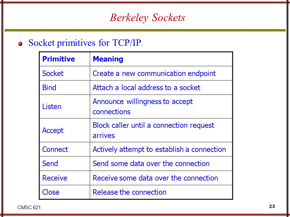 CMSC 621 23 Berkeley Sockets Socket primitives for TCP/IP. PrimitiveMeaning SocketCreate a new communication endpoint BindAttach a local address to a