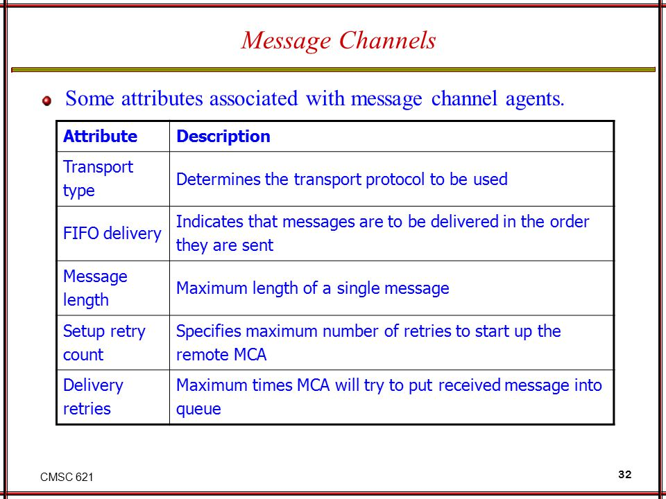 CMSC 621 32 Message Channels Some attributes associated with message channel agents. AttributeDescription Transport type Determines the transport prot