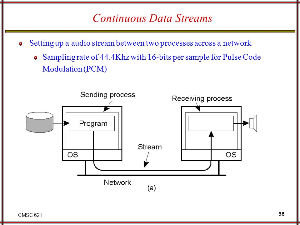 CMSC 621 36 Continuous Data Streams Setting up a audio stream between two processes across a network Sampling rate of 44.4Khz with 16-bits per sample for Pulse Code Modulation (PCM)