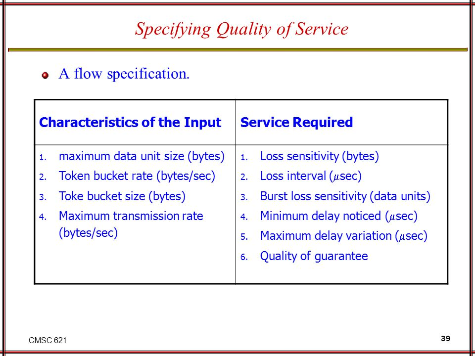 CMSC 621 39 Specifying Quality of Service A flow specification.