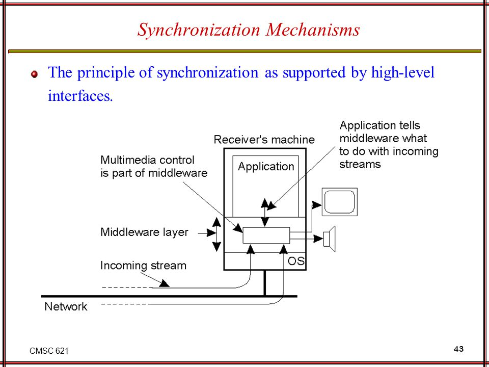 CMSC 621 43 Synchronization Mechanisms The principle of synchronization as supported by high-level interfaces.
