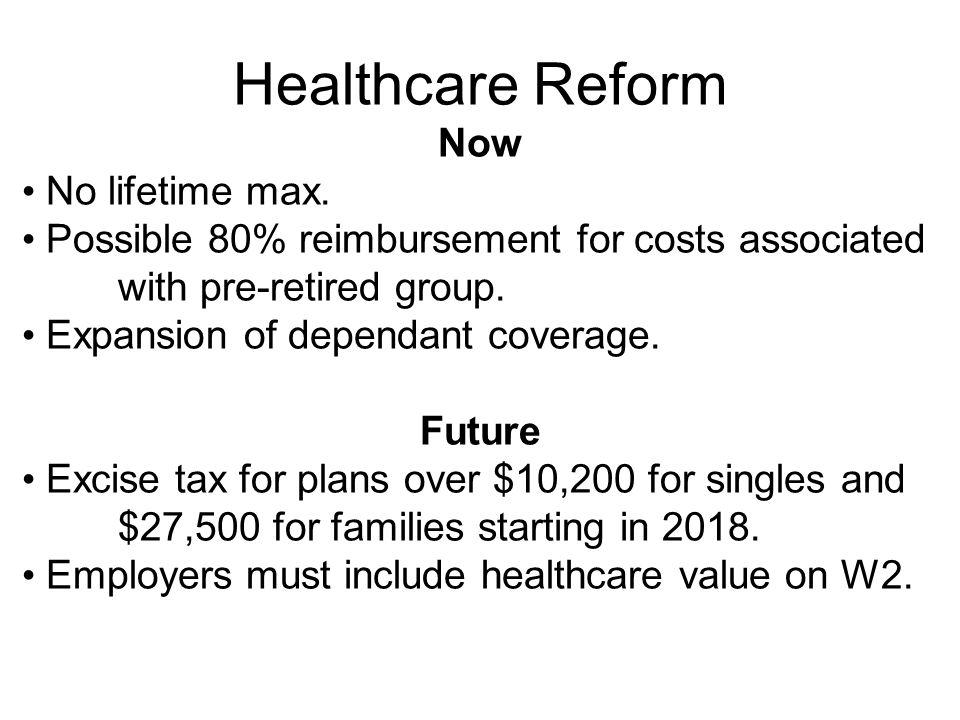 Healthcare Reform Now No lifetime max.
