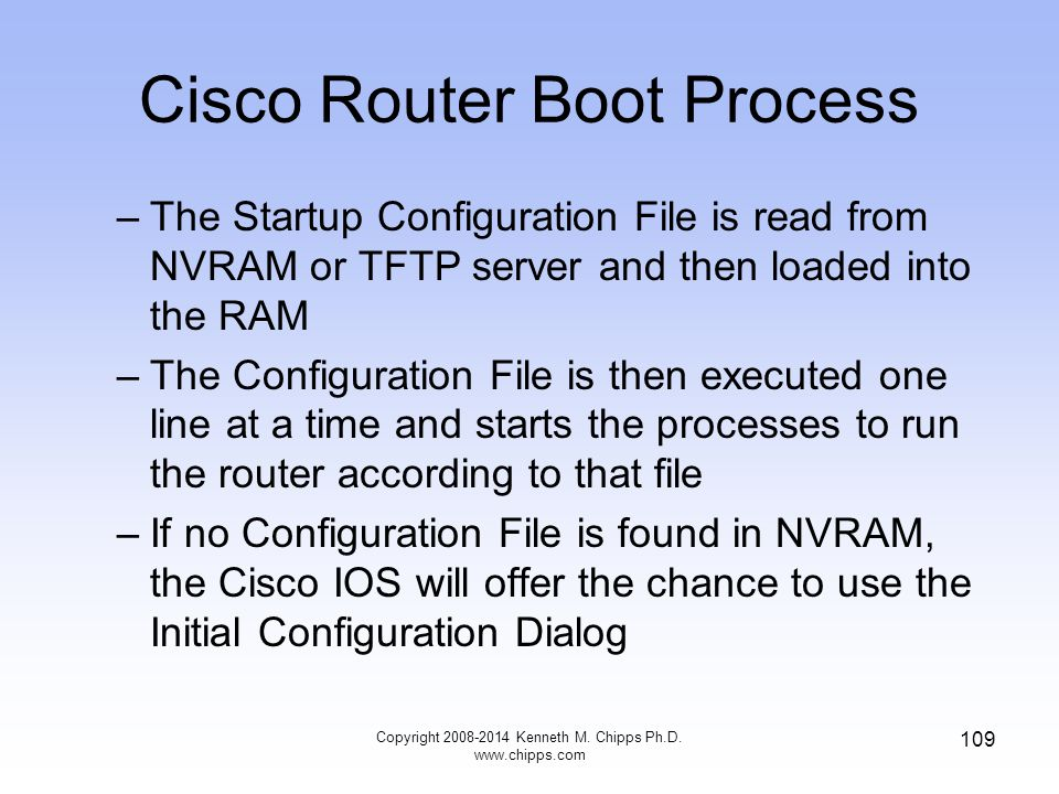 Copyright 2008-2014 Kenneth M. Chipps Ph.D. www.chipps.com 109 Cisco Router Boot Process –The Startup Configuration File is read from NVRAM or TFTP se