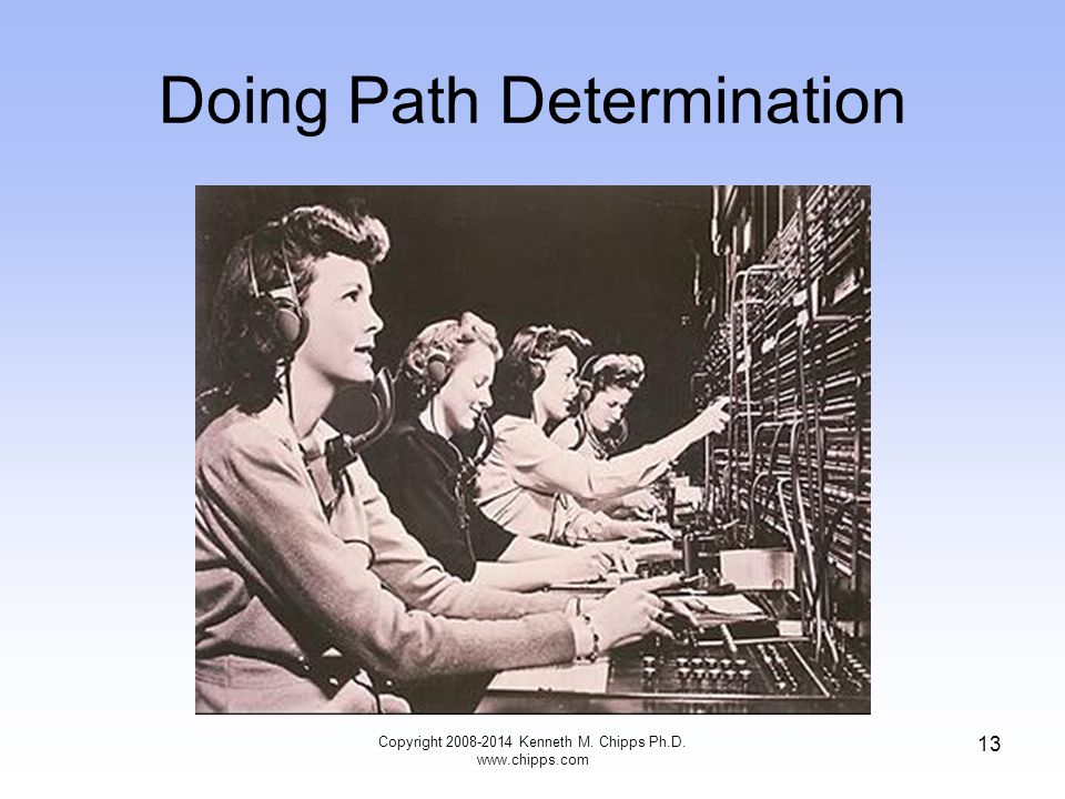 Copyright 2008-2014 Kenneth M. Chipps Ph.D. www.chipps.com 13 Doing Path Determination