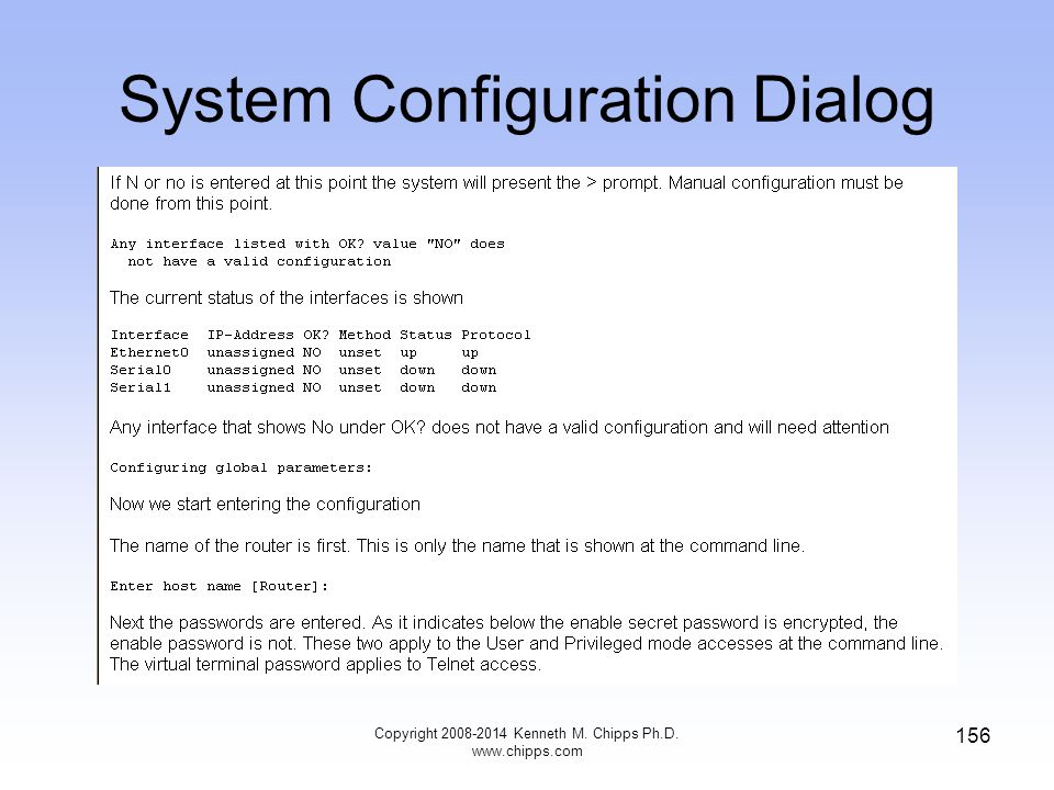 Copyright 2008-2014 Kenneth M. Chipps Ph.D. www.chipps.com 156 System Configuration Dialog