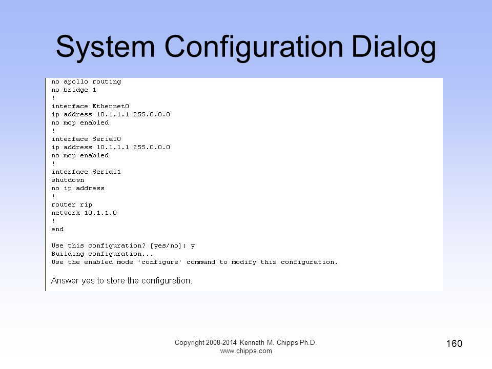 Copyright 2008-2014 Kenneth M. Chipps Ph.D. www.chipps.com 160 System Configuration Dialog