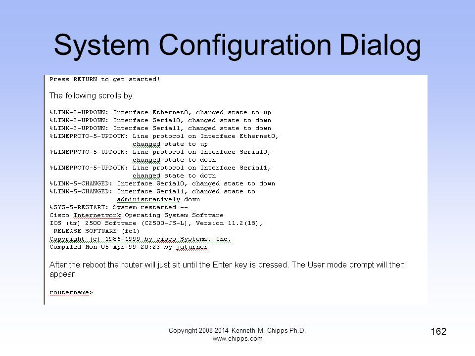 Copyright 2008-2014 Kenneth M. Chipps Ph.D. www.chipps.com 162 System Configuration Dialog