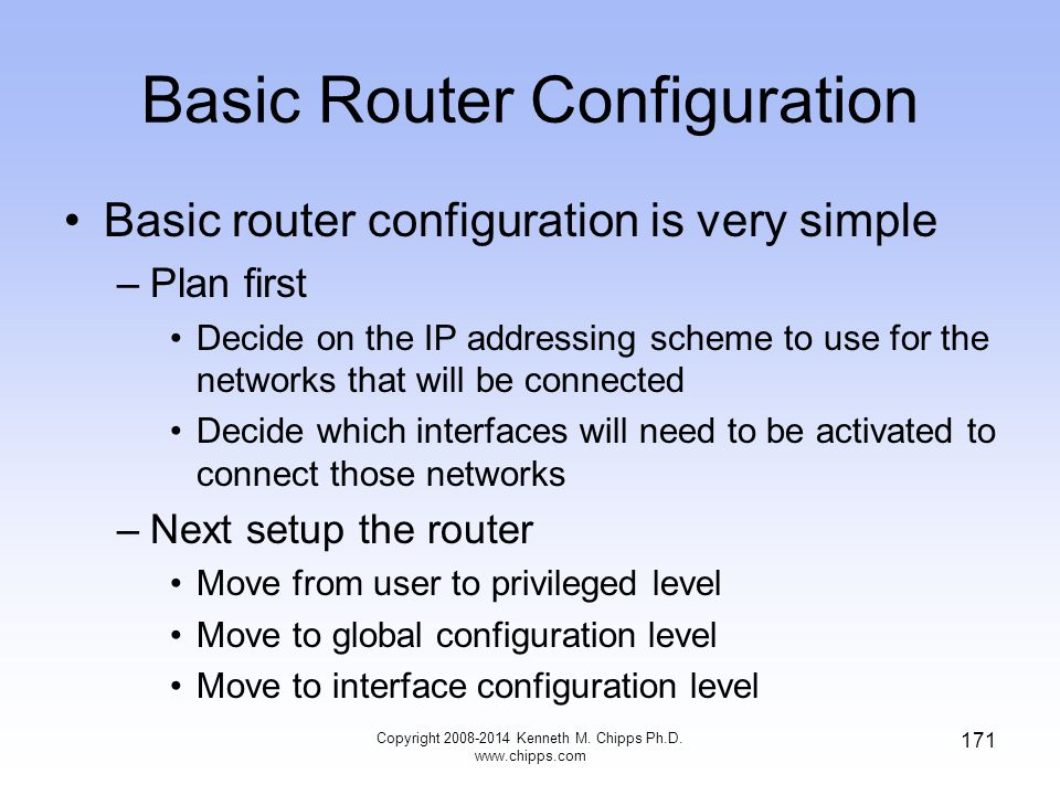 Basic Router Configuration Copyright 2008-2014 Kenneth M. Chipps Ph.D. www.chipps.com 171 Basic router configuration is very simple –Plan first Decide