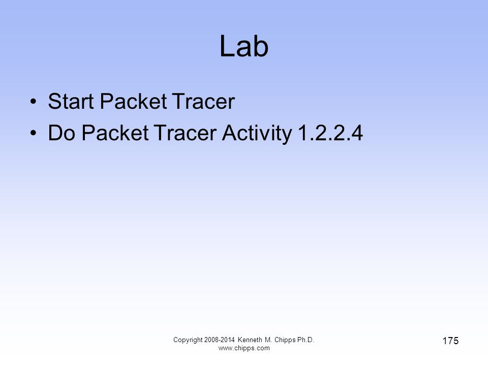 Lab Copyright 2008-2014 Kenneth M. Chipps Ph.D. www.chipps.com 175 Start Packet Tracer Do Packet Tracer Activity 1.2.2.4