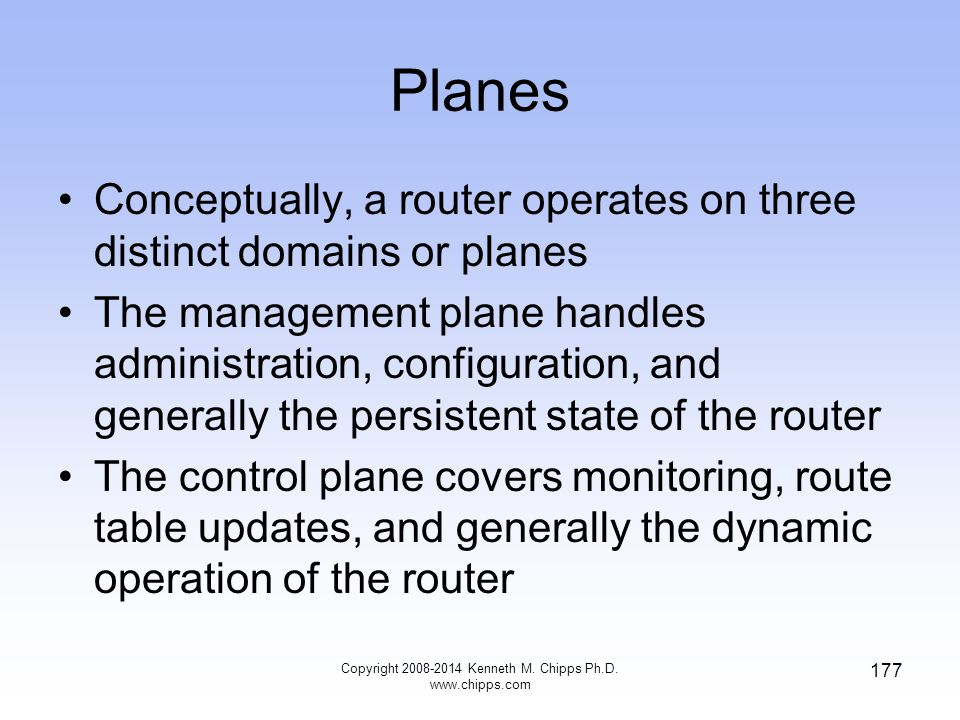 Copyright 2008-2014 Kenneth M. Chipps Ph.D. www.chipps.com 177 Planes Conceptually, a router operates on three distinct domains or planes The manageme