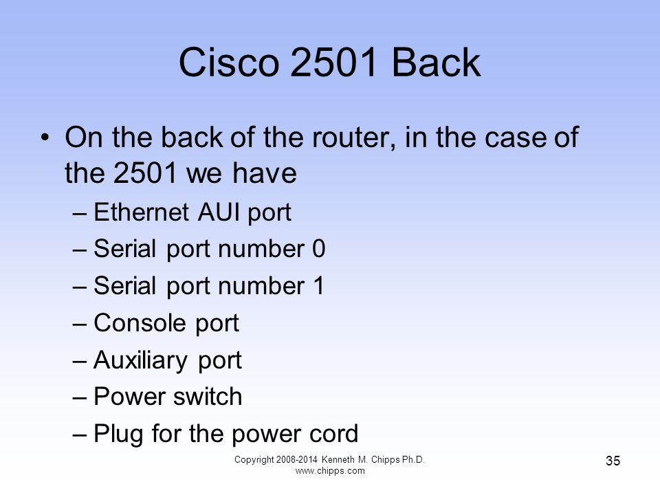 Copyright 2008-2014 Kenneth M. Chipps Ph.D. www.chipps.com 35 Cisco 2501 Back On the back of the router, in the case of the 2501 we have –Ethernet AUI