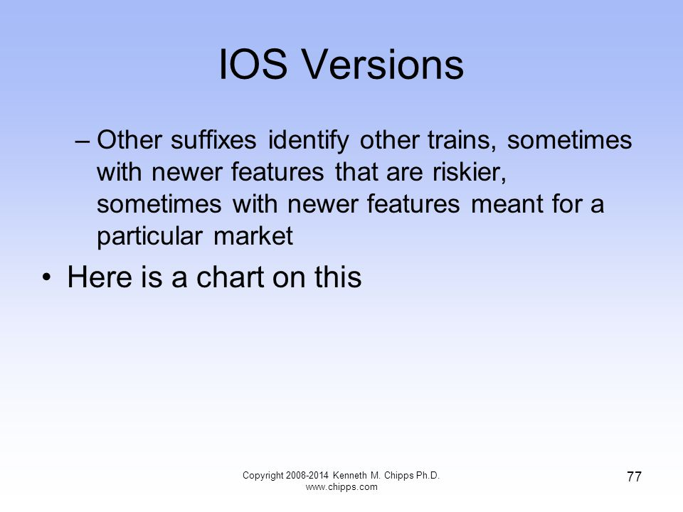 IOS Versions –Other suffixes identify other trains, sometimes with newer features that are riskier, sometimes with newer features meant for a particul