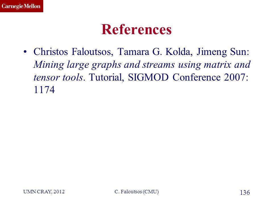 CMU SCS C. Faloutsos (CMU) 136 References Christos Faloutsos, Tamara G.